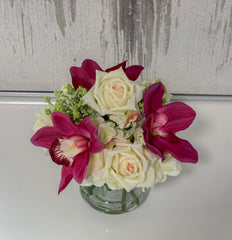 Real Touch Rose Mixed Orchid Arrangement - Flovery