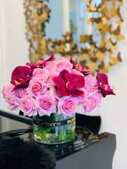 Large elegant arrangement with 40 finest real touch purple roses and orchid - Flovery