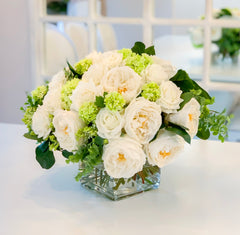 XXL Real Touch Centerpiece - Large Dining- White Real Touch Floral Arrangement-Faux Flowers-Lobby Arrangement - Flovery