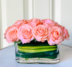 Real Touch Peach Roses Arrangement