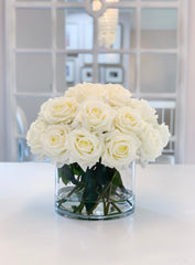 Giant White Rose Real Touch Flower Arrangement In Vase-Large Dining Table Centerpiece-White Real Touch Floral Arrangement Home Decor - Flovery