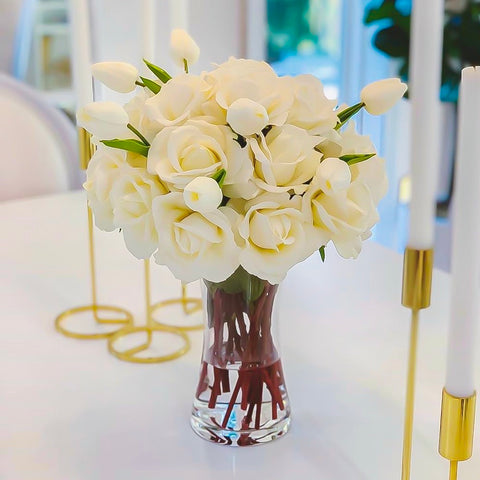 Tall Cream Real Touch Faux Flowers Arrangement-Dining Centerpiece-Silk Flowers-Cream Roses - Flovery