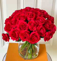 30 Large Real Touch Red Roses Arrangement