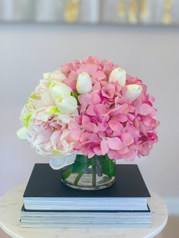 All Real Touch Flower Arrangement -Pink Peonies Centerpiece-Real Touch Peonies-Real Touch Hydrangea -Tulip Arrangement-Pink Arrangement - Flovery
