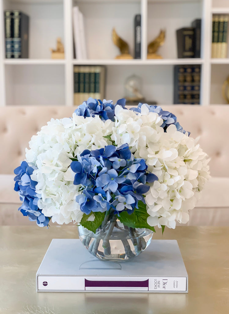 "17"" Large REAL TOUCH French Hydrangea Flower Arrangement-Blue Hydrangea Centerpiece -Large Hydrangea Floral Arrangement-Modern Arrangements"