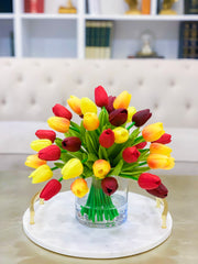 Tulips Real Touch Centerpiece-Real Touch Flower Arrangement-Spring Real Touch Tulip Arrangement-Faux Tulip Arrangement-Dinning Arrangement - Flovery
