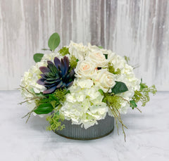 Centerpiece Arrangement - Real Touch White Rose Mixed Finest Artificial Cactus And Hydrangea