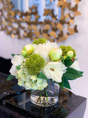 Silk Peonies Hydrangea Buds Glass Vase Arrangement