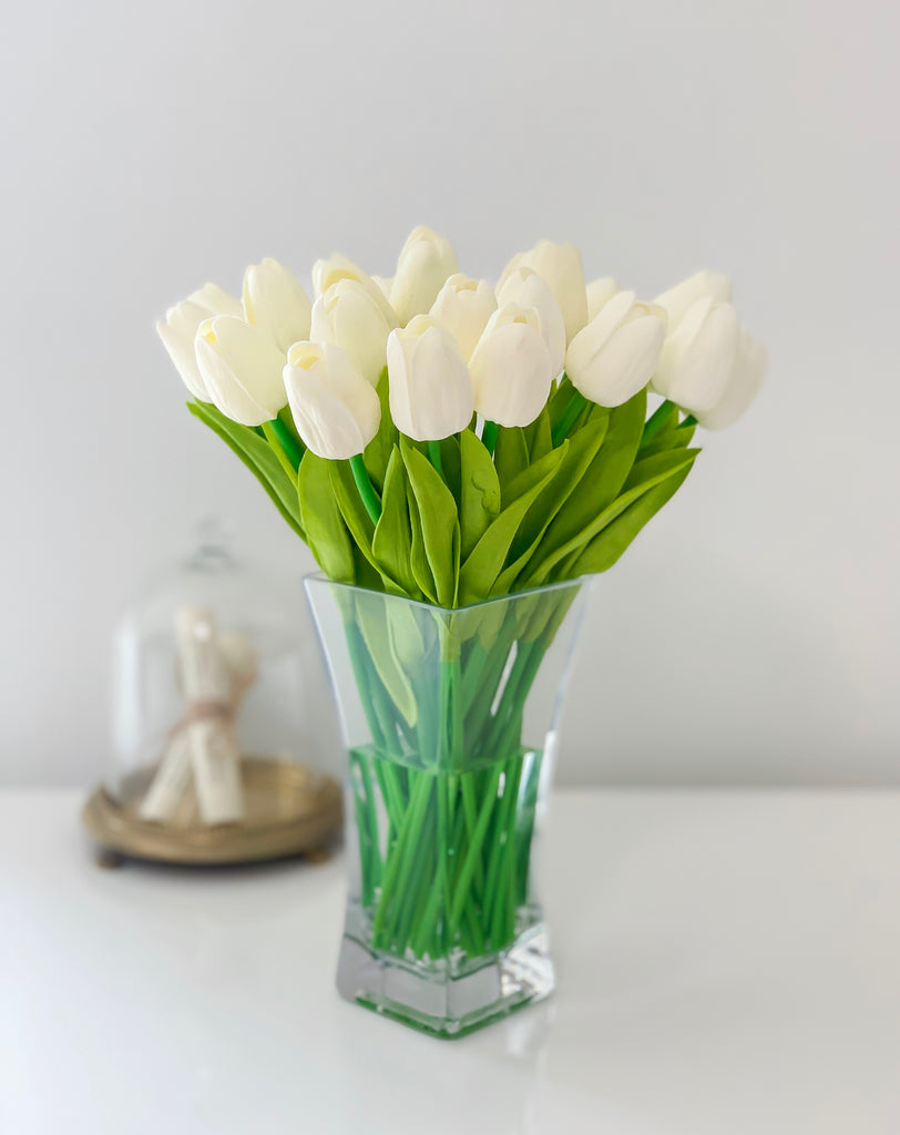 "13"" Real Touch Tulip-White Tulip Arrangement-Tulip Centerpiece-Floral Arrangement-Faux Flowers-Tulips-White/Offwhite Tulip - Flovery"
