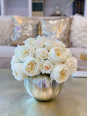 Large REAL TOUCH Rose Centerpiece Gold-Cream/Ivory Rose Arrangement English Roses-Large Floral Arrangement-Large Table Centerpiece - Flovery