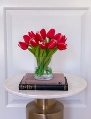 Magenta Pink Real Touch Tulip-Real Touch Flowers Arrangement-Artificial Flower Arrangement-Centerpiece-Faux Arrangement-Artificial Flowers - Flovery