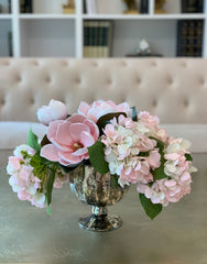 Finest REAL TOUCH Magnolia/Hydrangea Arrangement - pink/white/blush Real Touch Hydrangea -Faux Magnolia Arrangement - Magnolia Centerpieces -