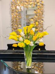 Yellow/White Real Touch Flowers Arrangement-Yellow Calla Lily Real Touch Arrangement-Real Touch Tulip-White/Yellow Tulips Centerpiece - Flovery