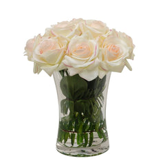 Tall Real Touch Ivory Roses Pink Tipped Arrangement