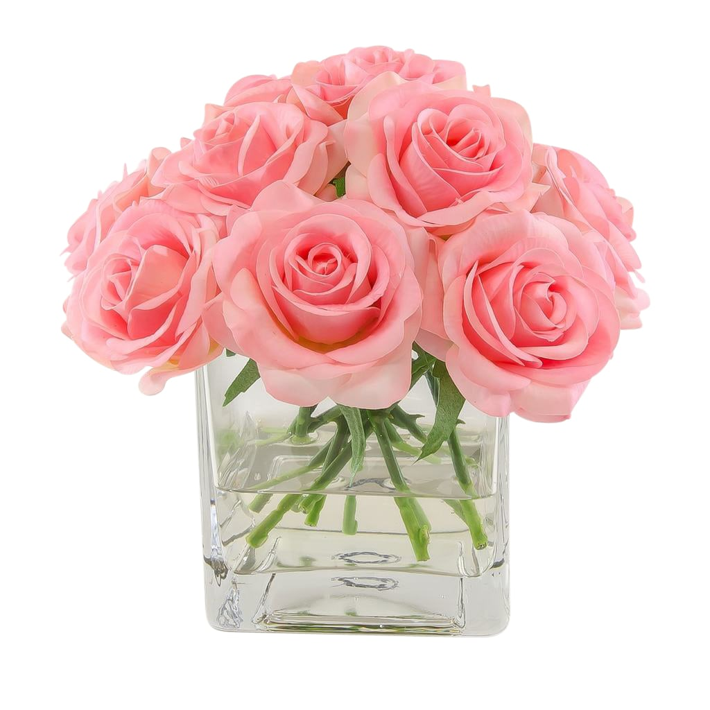 Real Touch Pink Roses Arrangement Square Glass Vase Flovery