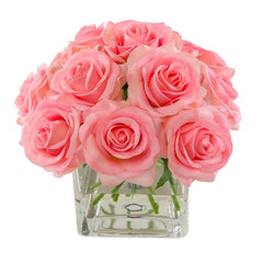 Real Touch Pink Roses Arrangement Square Glass Vase