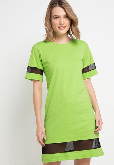 T-shirt Dress with contrast Combination - Green