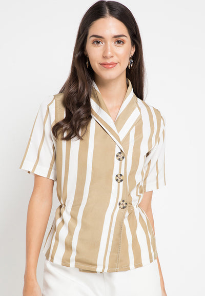 Short Sleeves striped blouse