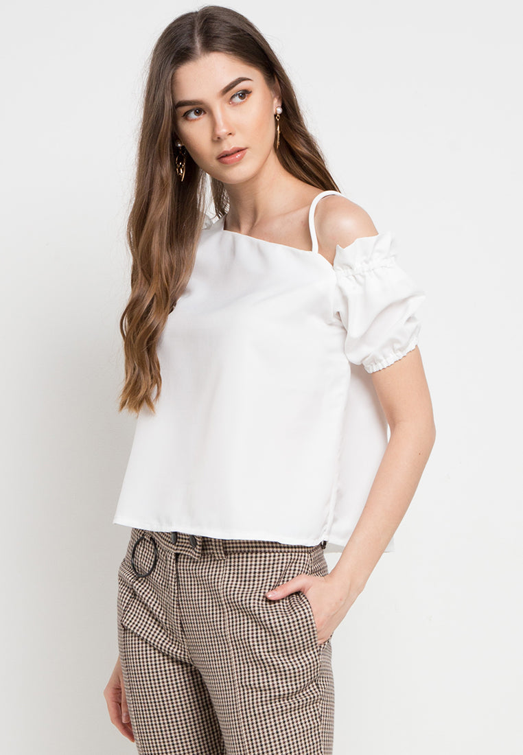 Off Shoulder with Half frilled Top - White