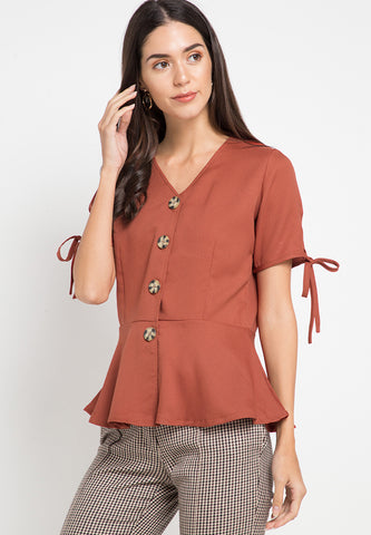 Vneck top with button detail - Brick