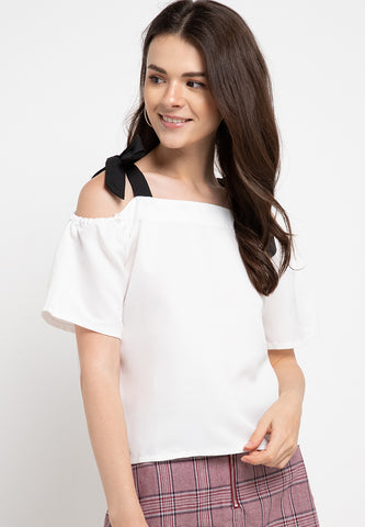 Off Shoulder Ribbon Crop