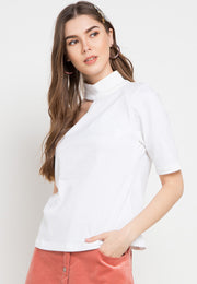 Assymetric Shoulder Tee - White