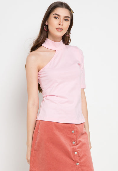 Assymetric Shoulder Tee - Pink