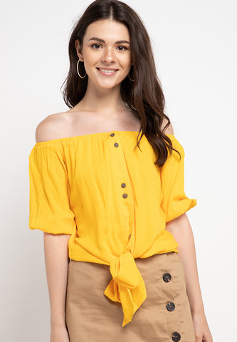 Off Shoulder Knotted Top - Mustard