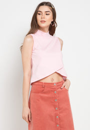 Turtle Neck Cross Tee - Pink