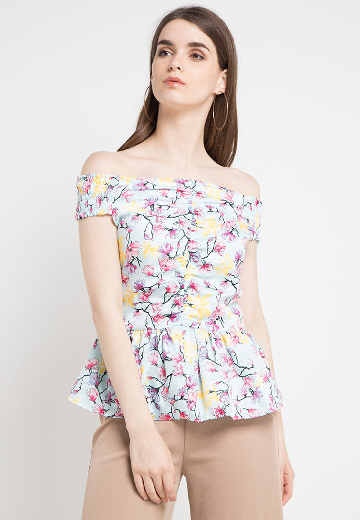 Sabrina Peplum Flower Top