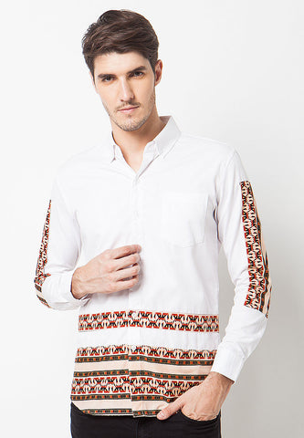 Contrast Batik Top Long Sleeves - Brown