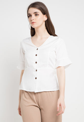 Simple Vneck Blouse - White