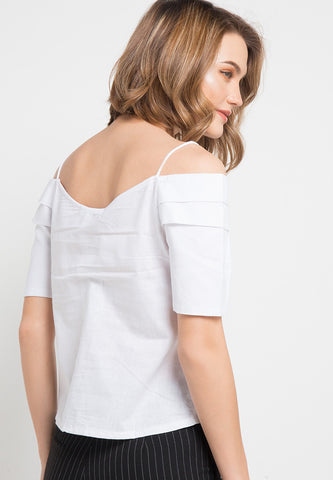 Off Shoulder With Button - White