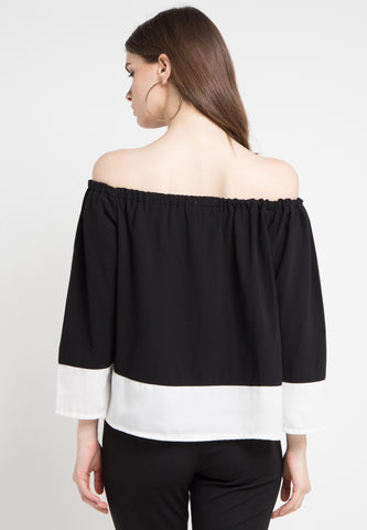 Contrast Sabrina Top - Black