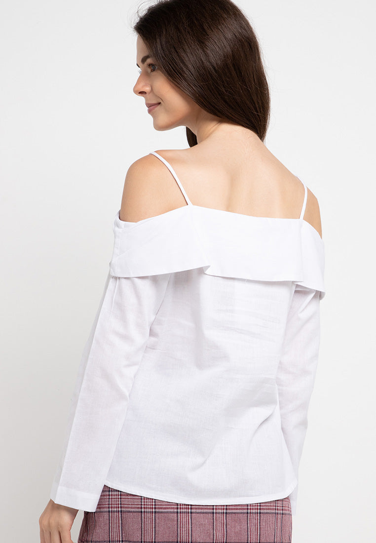 Sabrina Top Long Sleeve - White