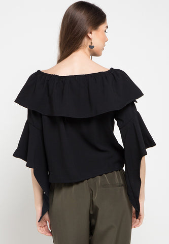 Sabrina top with flowly sleeves - Black