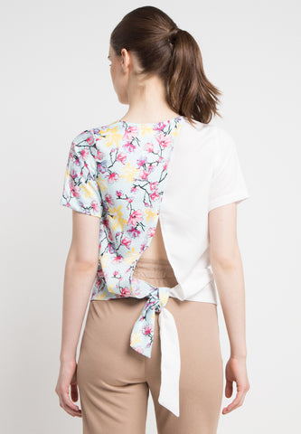 Sling Combination Flower Top - White