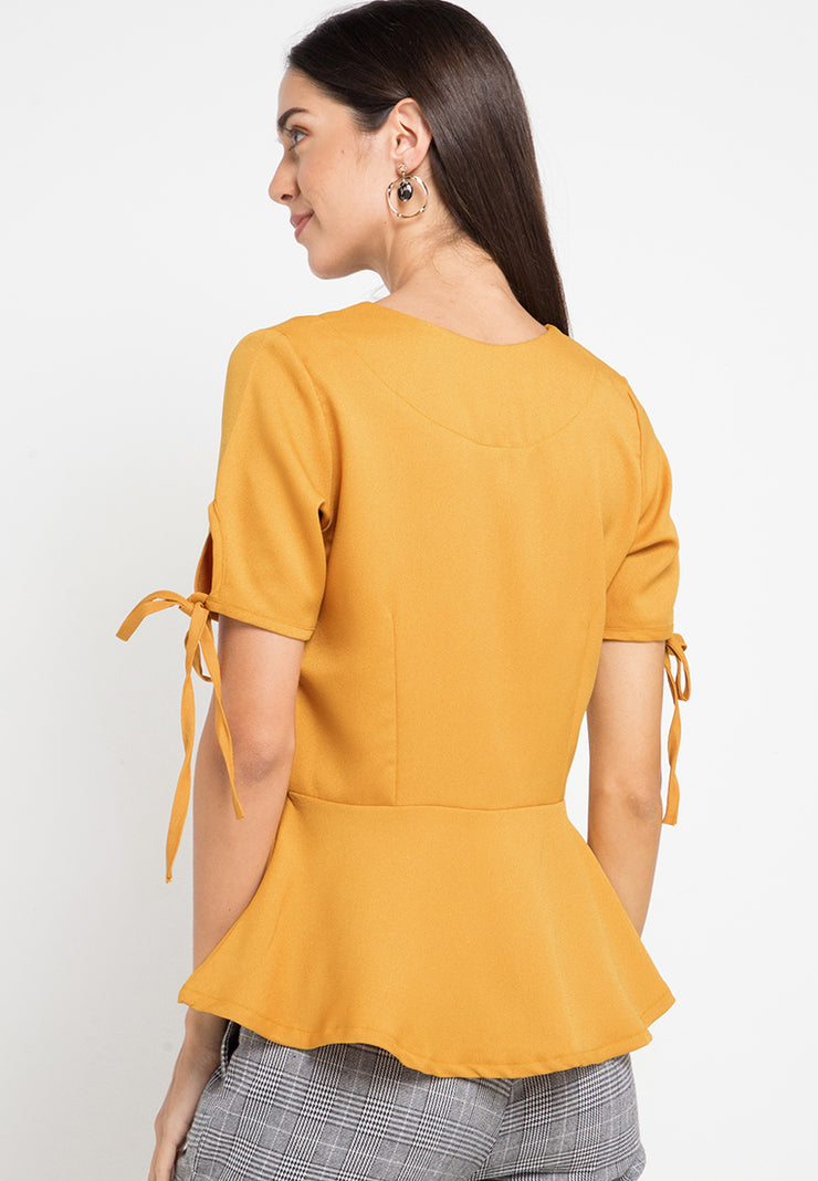 Vneck top with button detail - Mustard