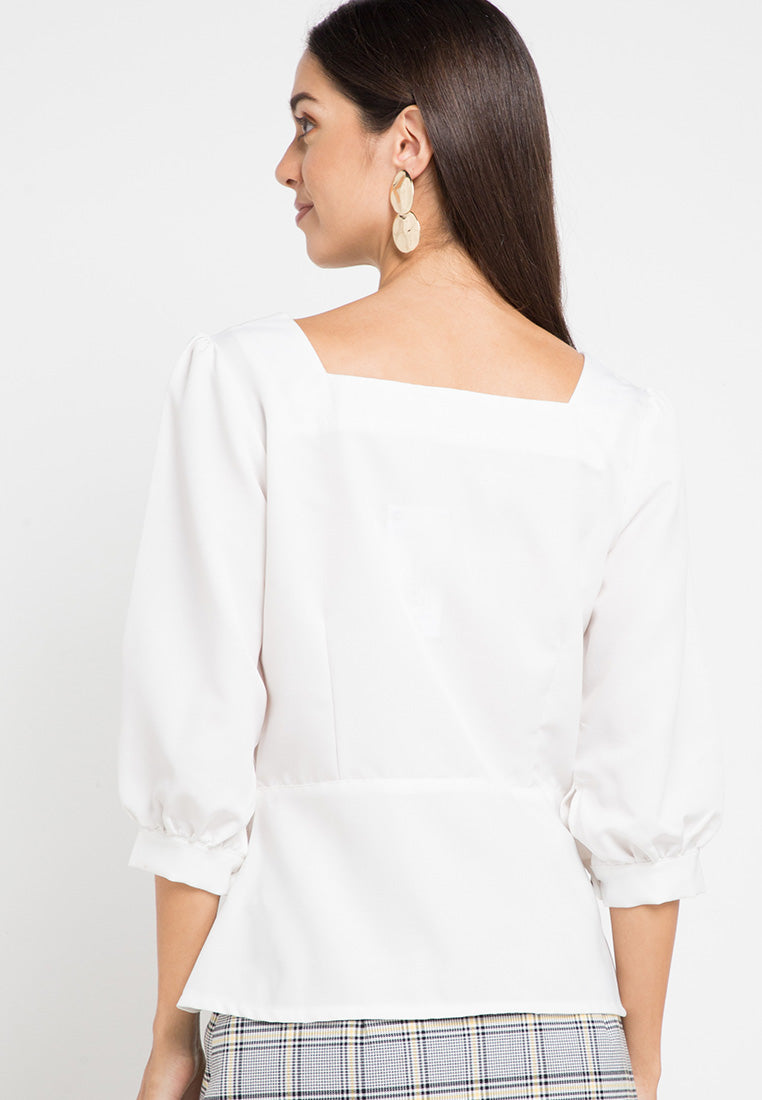 Button up puff sleeve square neck top