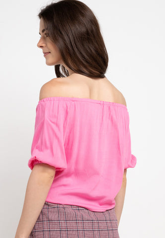 Off Shoulder Knotted Top - Pink