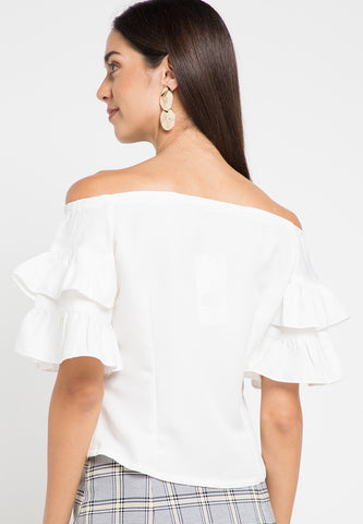 Double Frilled Sleeve crop top