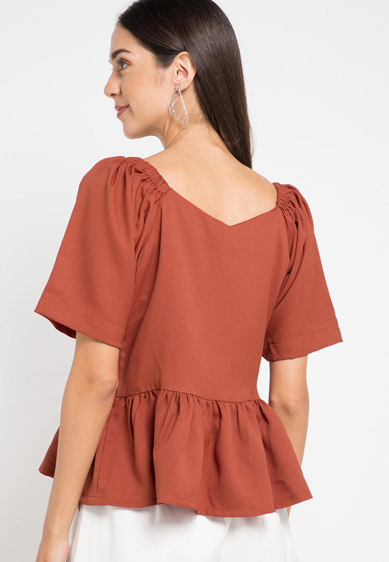 Flared sleeves top with button