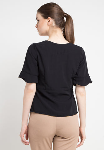 Simple Vneck Blouse - Black