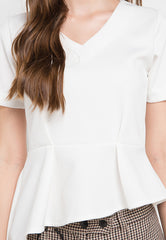 Blouse with tilted detail - White