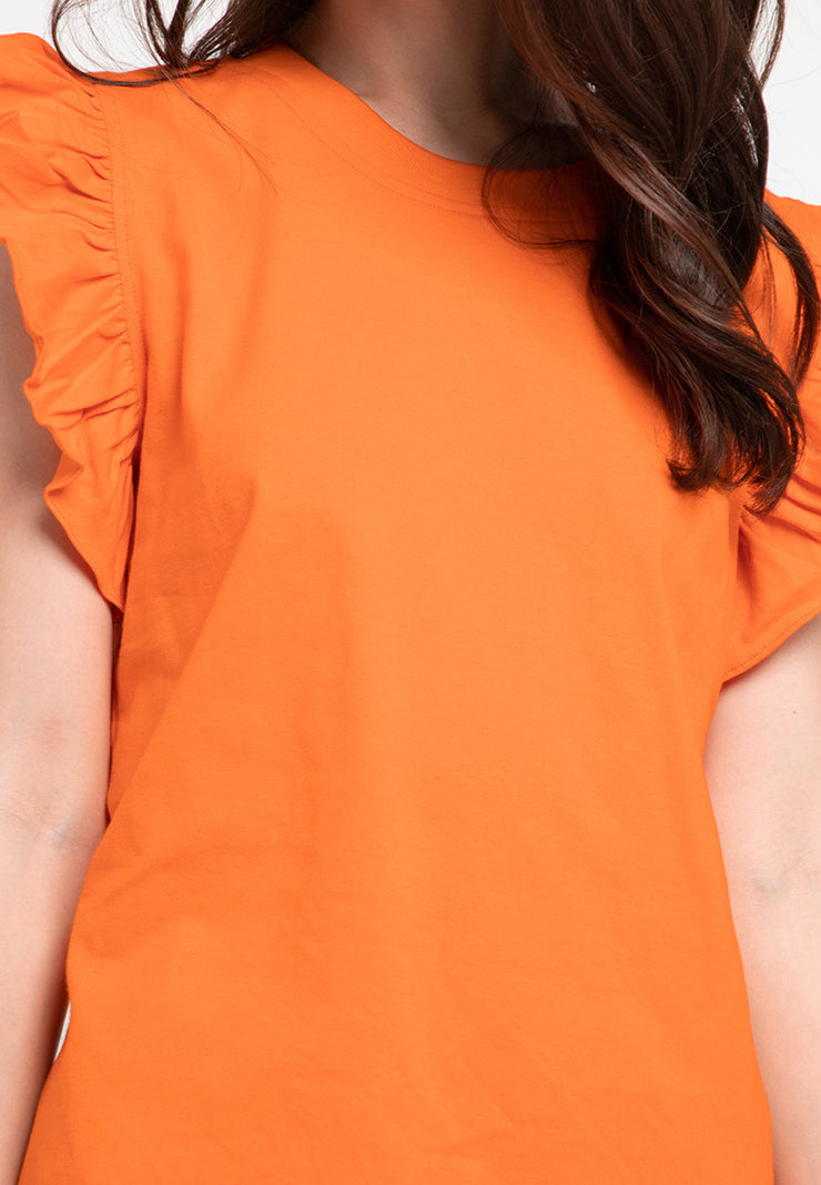 Tee with Ruffle Sleeve - Orange