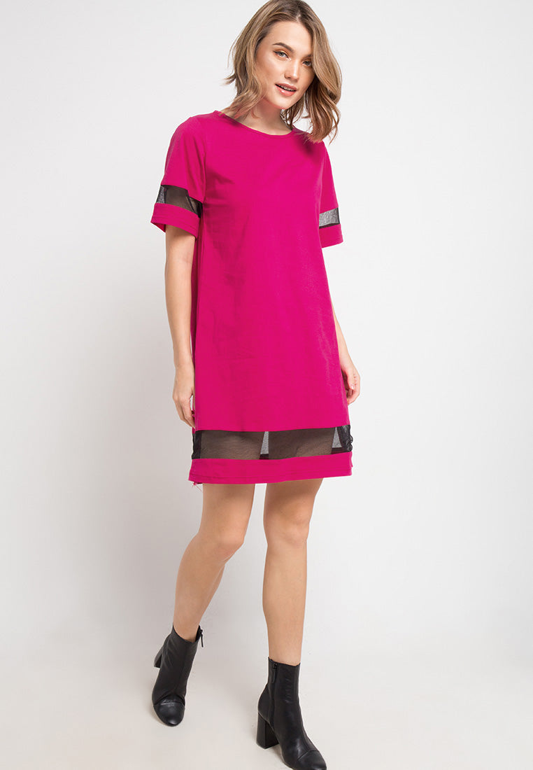 T-shirt Dress with contrast Combination - Fuchsia