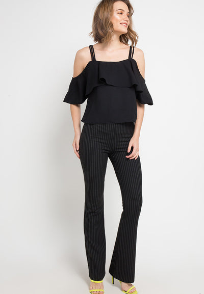 Triple Strap Off Shoulder Top - Black