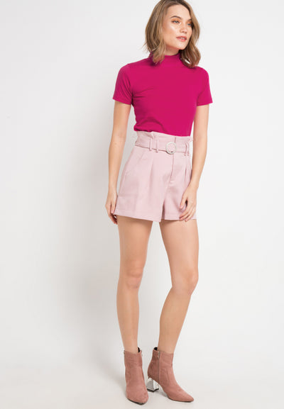 Turtle Neck tee - Fuchsia