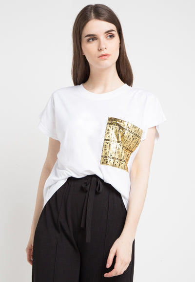 Oversized Tee with Gold Metalic Pocket - White Gold