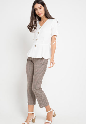 Vneck top with button detail - White